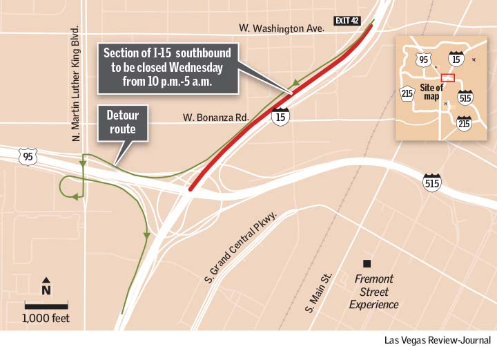 map Interstate 15 closure Wednesday Las Vegas Review-Journal