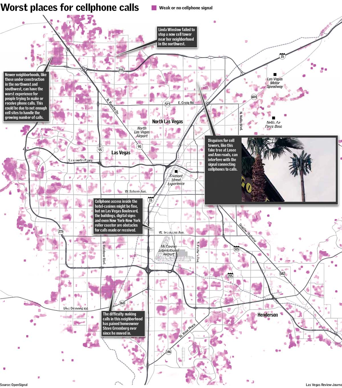 Cell phone signal dead spots Map Las Vegas Review-Journal