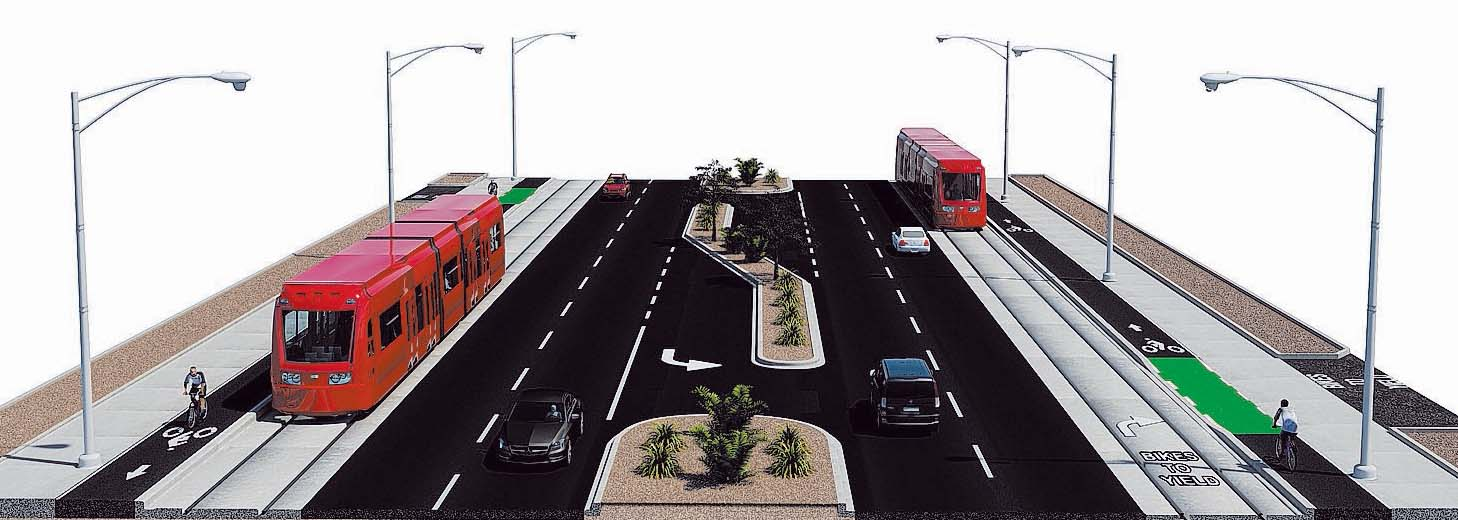 Maryland Parkway light rail design rendering Las Vegas Review-Journal