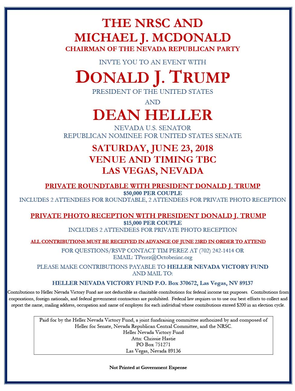 President Donald Trump U.S. Senator Dean Heller Nevada fundraiser Las Vegas Review-Journal