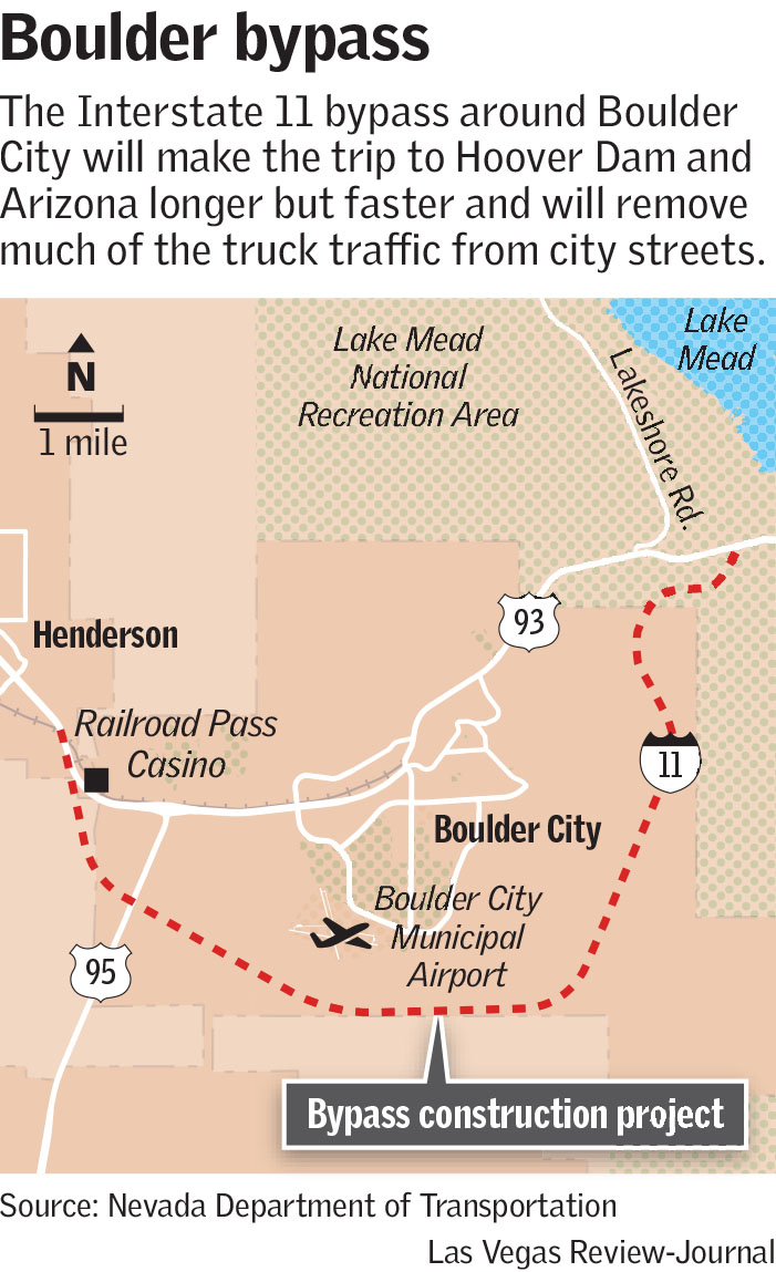 Map Of Arizona And Vegas.Boulder City Residents Adapting As New I 11 Bypass Opens Las Vegas