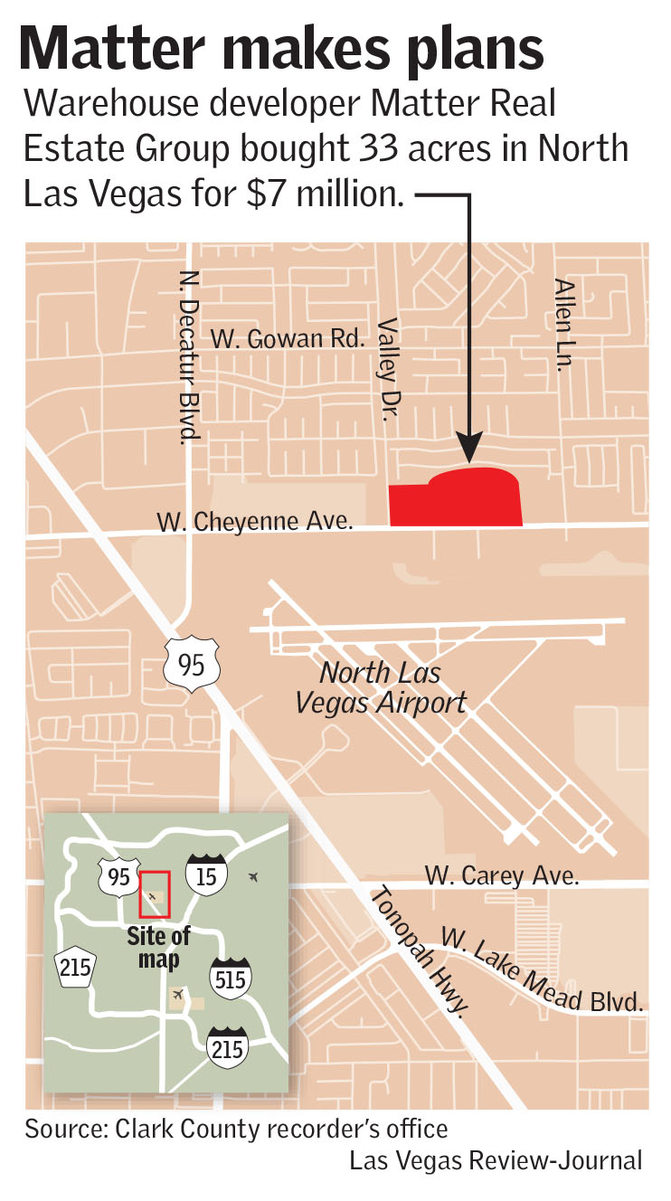 A warehouse developer has bought a spread of land in North Las Vegas from a  wireless-communications giant whose planned project there fizzled.