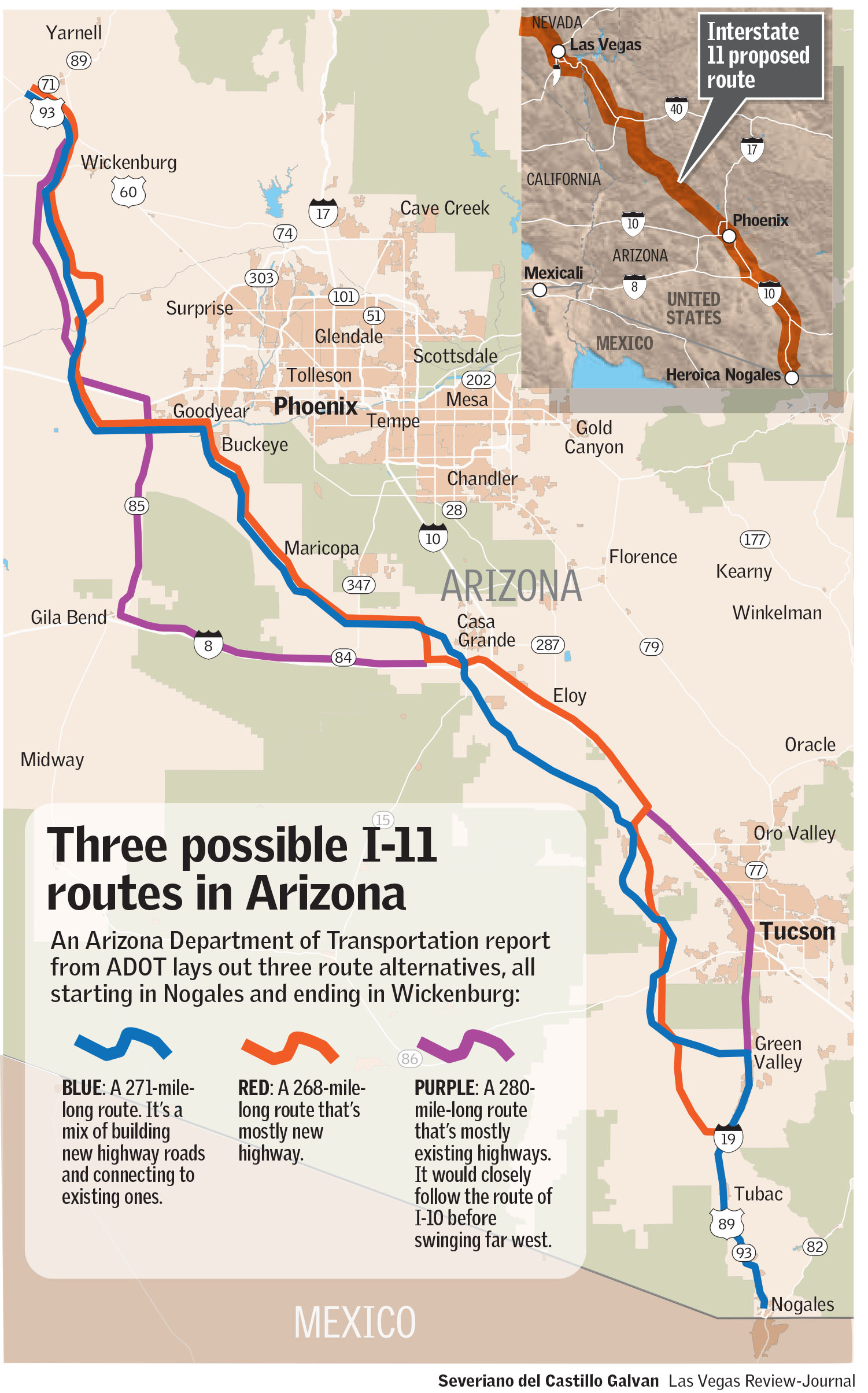 Map Of Arizona Freeway Shootings.Arizona Officials Study 3 Possible Routes For Future I 11 Las