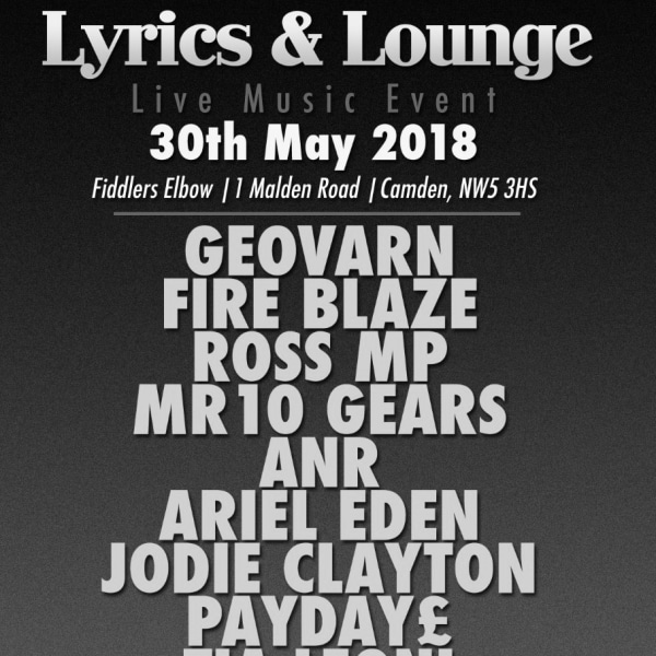 Lyrics & Lounge Live Music Event at The Fiddler's Elbow promotional image