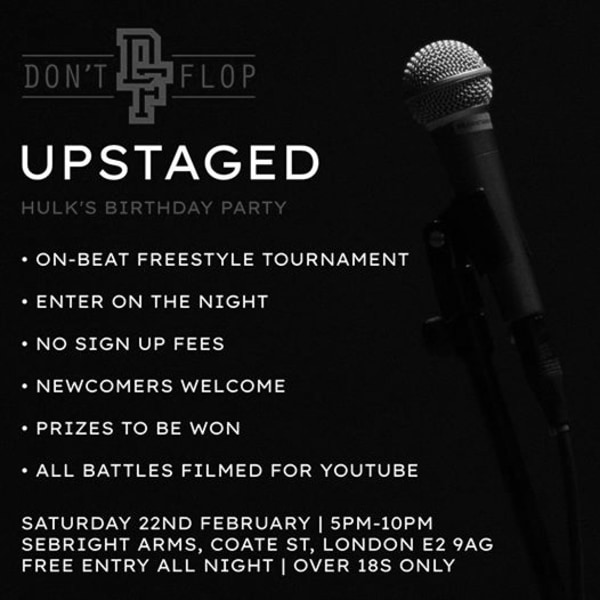 Don't Flop: Upstaged | Hulk's Birthday Party at Sebright Arms promotional image