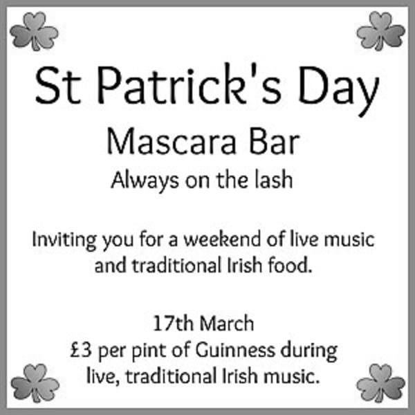 St. Patrick's Day Weekend 2019 - Day Two 			 at Mascara Bar promotional image