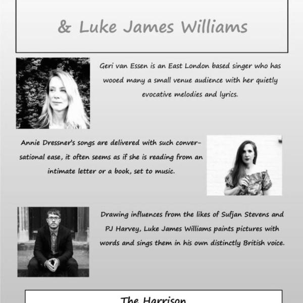 Geri Van Essen, Annie Dressner and Luke James Williams at The Harrison promotional image