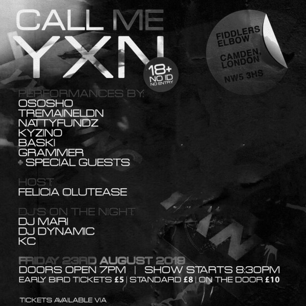 Call Me YXN at The Fiddler's Elbow promotional image
