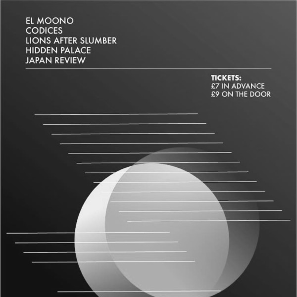 El Moono/Codices/Lions after slumber/Hidden Palace/Japan Review at The Fiddler's Elbow promotional image