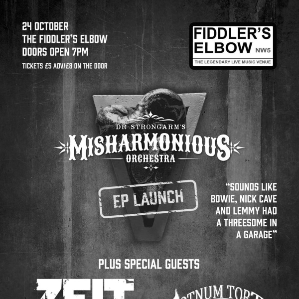 Dr. Strongarm's Misharmonious Orchestra - EP Launch at The Fiddler's Elbow promotional image