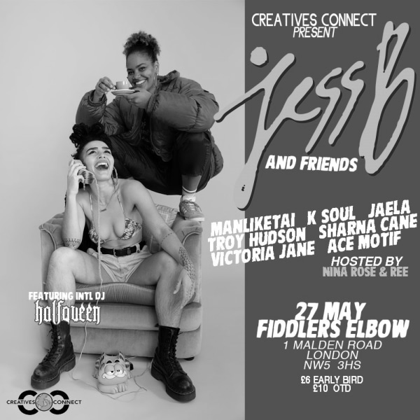 JessB & Friends with her DJ half Queen at The Fiddler's Elbow promotional image