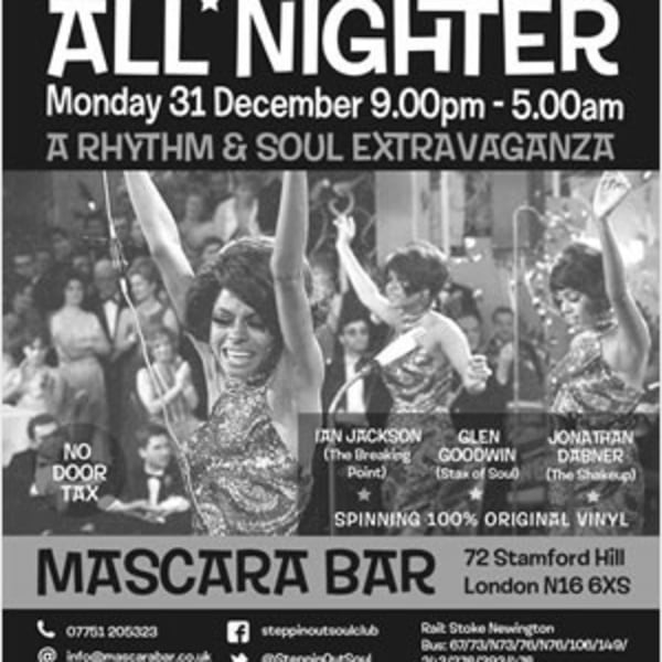 Steppin' Out NYE Allnighter  at Mascara Bar promotional image