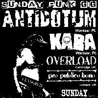 Antidotum / Kara / Pro Publico Bono / Overload at New Cross Inn promotional image