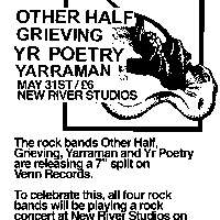 Other Half, Grieving, Yarraman and Yr Poetry live! at New River Studios promotional image
