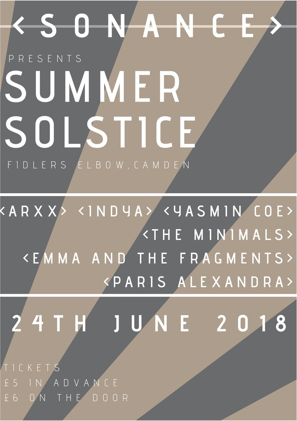 Sonance Presents ARXX, Yasmin Coe, Minimals, and more.. at The Fiddler's Elbow promotional image