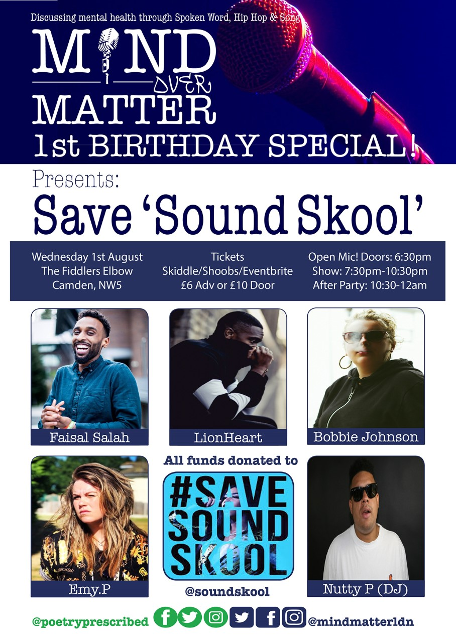 Mind Over Matter - Save Sound Skool + 1st Birthday Special! at The Fiddler's Elbow promotional image