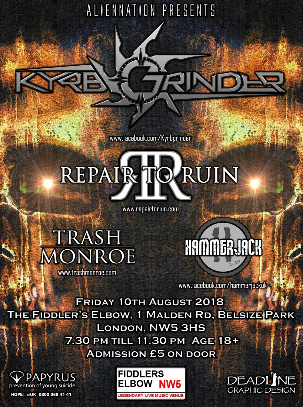 Alien Nation - Kyrbgrinder/RepairToRuin/TrashMonroe/Hammerjack at The Fiddler's Elbow promotional image