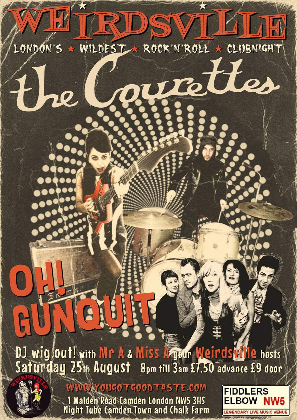 Weirdsville - The Courettes, Oh! Gunquit, DJs Mr A & Miss A at The Fiddler's Elbow promotional image