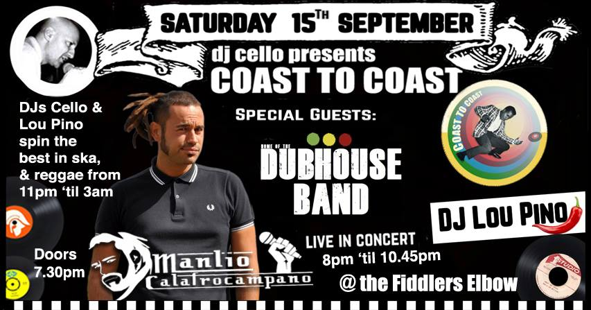 SKA - DJ's Cello & Lou Pino special live guests ManLio Calafrocampano & Dubhouse Band at The Fiddler's Elbow promotional image