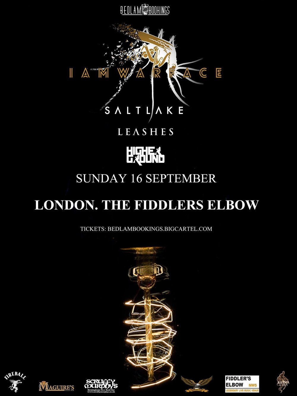Bedlam Bookings Presents - Iamwarface + Saltlake + Leashes + Higher Ground at The Fiddler's Elbow promotional image