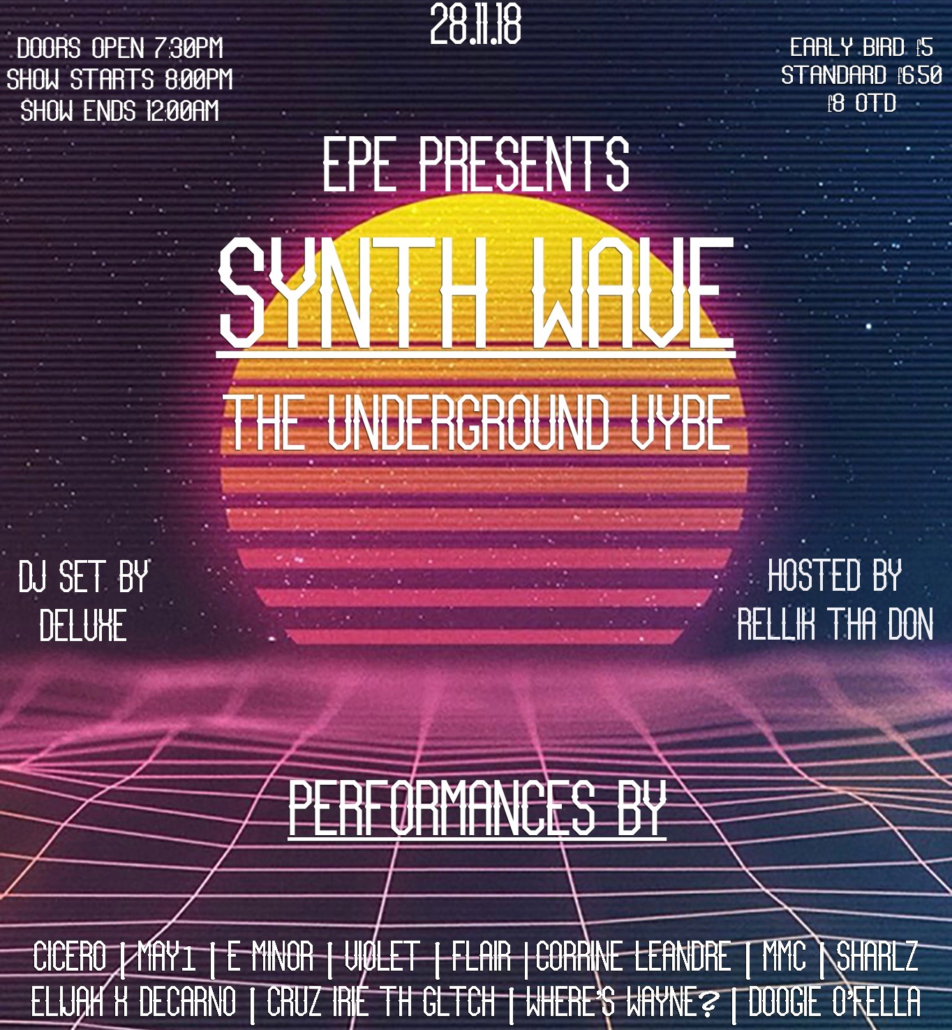 EPE presents SynthWave | The Underground Vybe at The Victoria promotional image