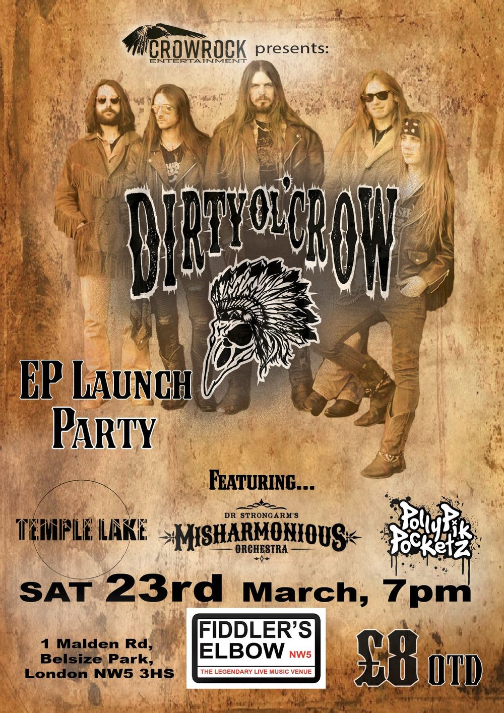 DIRTY OL' CROW EP Launch PARTY w/ support + DJ set at The Fiddler's Elbow promotional image