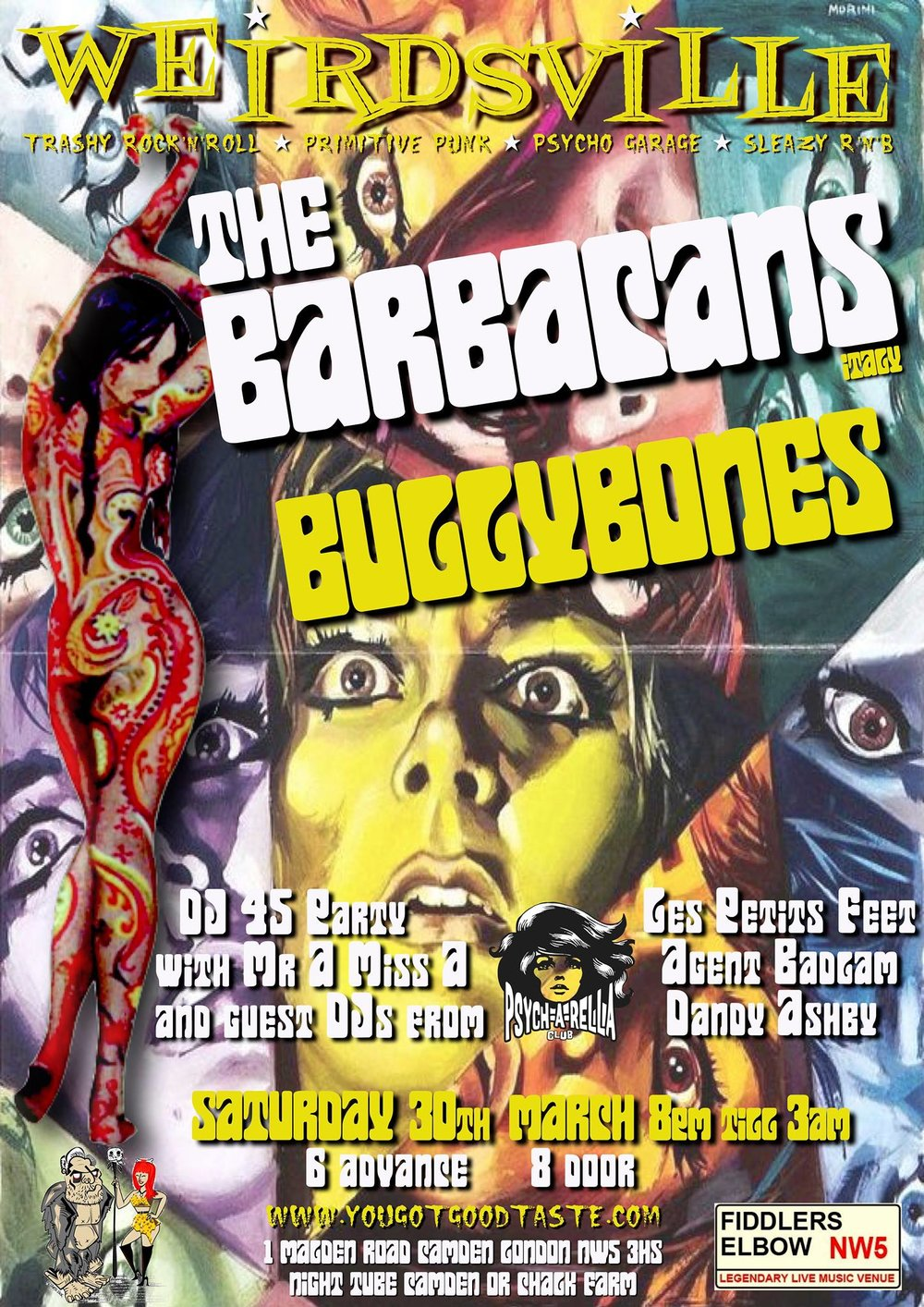 Weirdsville-The Barbacans, Bully Bones, guest DJs Psycharella at The Fiddler's Elbow promotional image