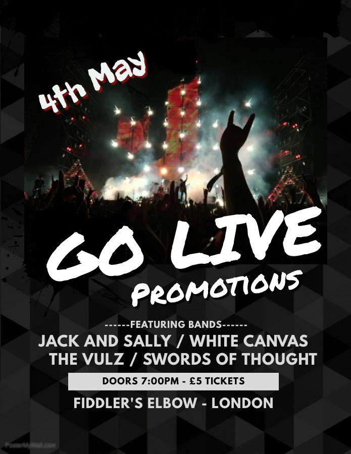 Jack & Sally, White Canvas, The Vulz, Swords of Thought at The Fiddler's Elbow promotional image