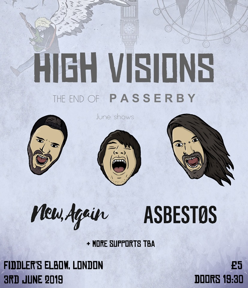 High Visions / Asbestos / New, Again at The Fiddler's Elbow promotional image