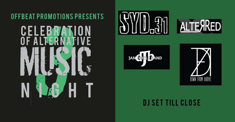 Offbeat promotions presents a third night of celebration of alternative music at The Fiddler's Elbow promotional image