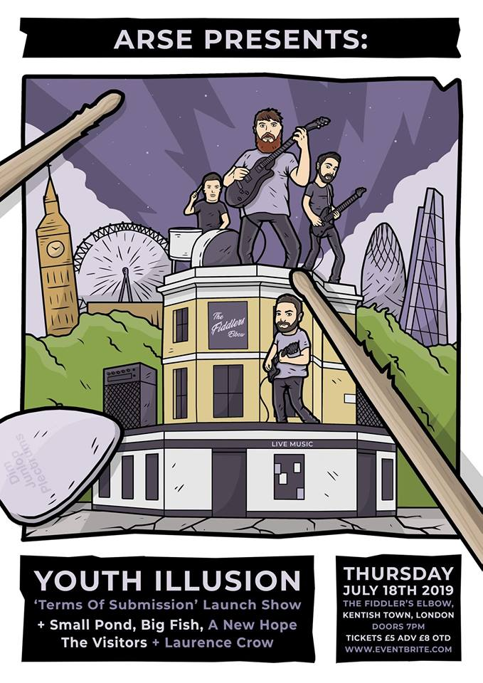 Youth Illusion + guests ( release of their debut EP 'Terms Of Submission'. ) at The Fiddler's Elbow promotional image