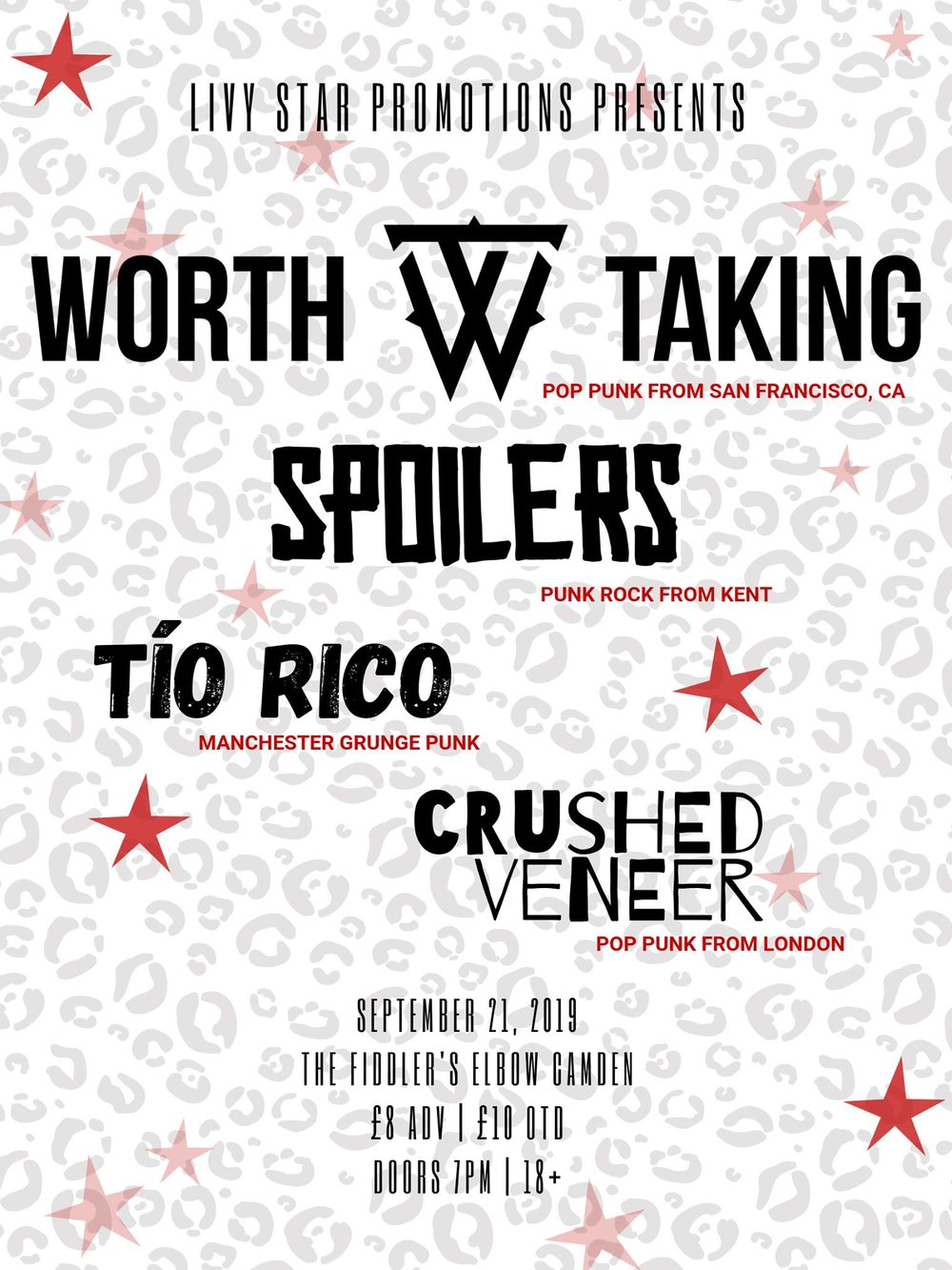 PUNKY - Worth Taking, Spoilers, Tio Rico, and Crushed Veneer at The Fiddler's Elbow promotional image
