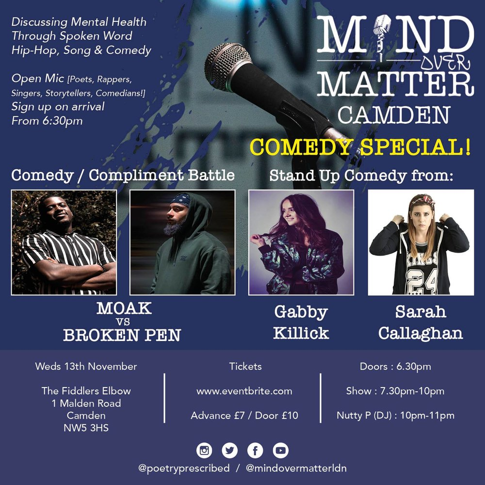 Mind Over Matter: Comedy Special! at The Fiddler's Elbow promotional image