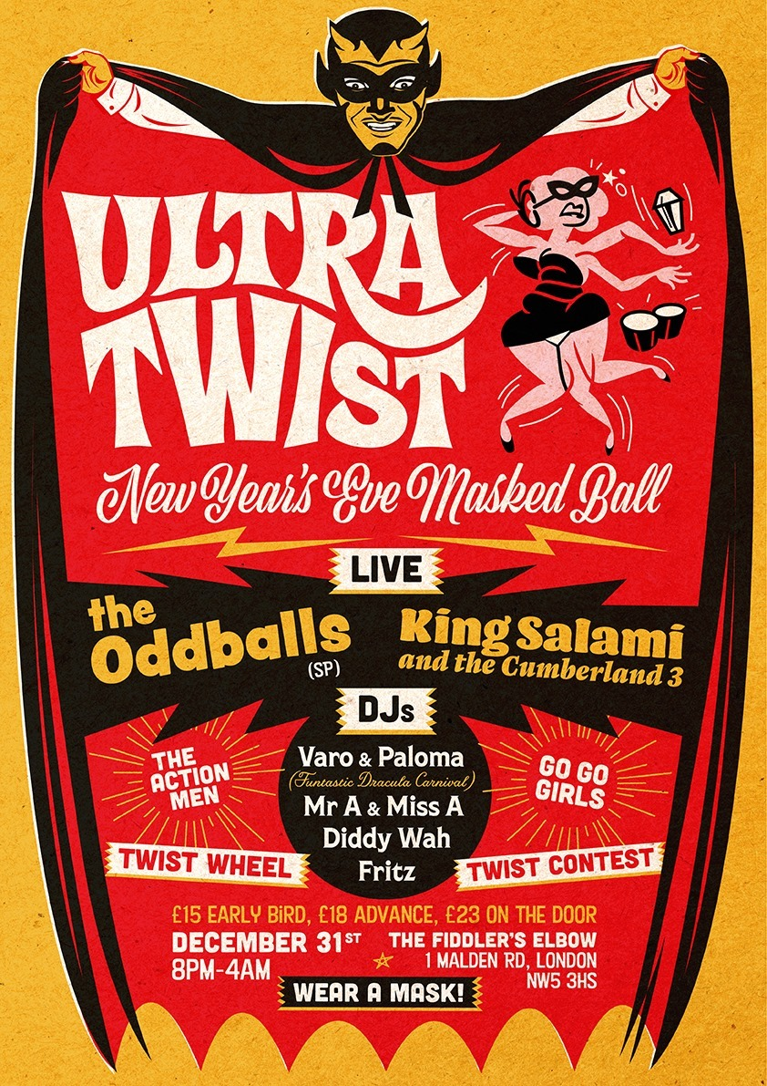 UlTrA tWiSt NYE Masked Ball, The Oddballs, King Salami, and more at The Fiddler's Elbow promotional image