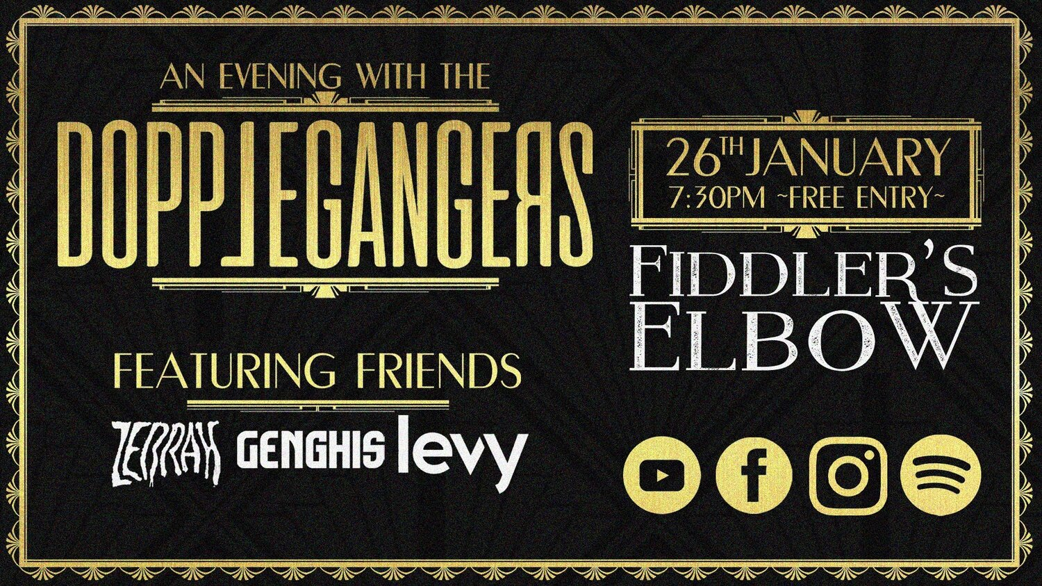 Dopplegangers + Genghis, Levy, and Zebrah. at The Fiddler's Elbow promotional image