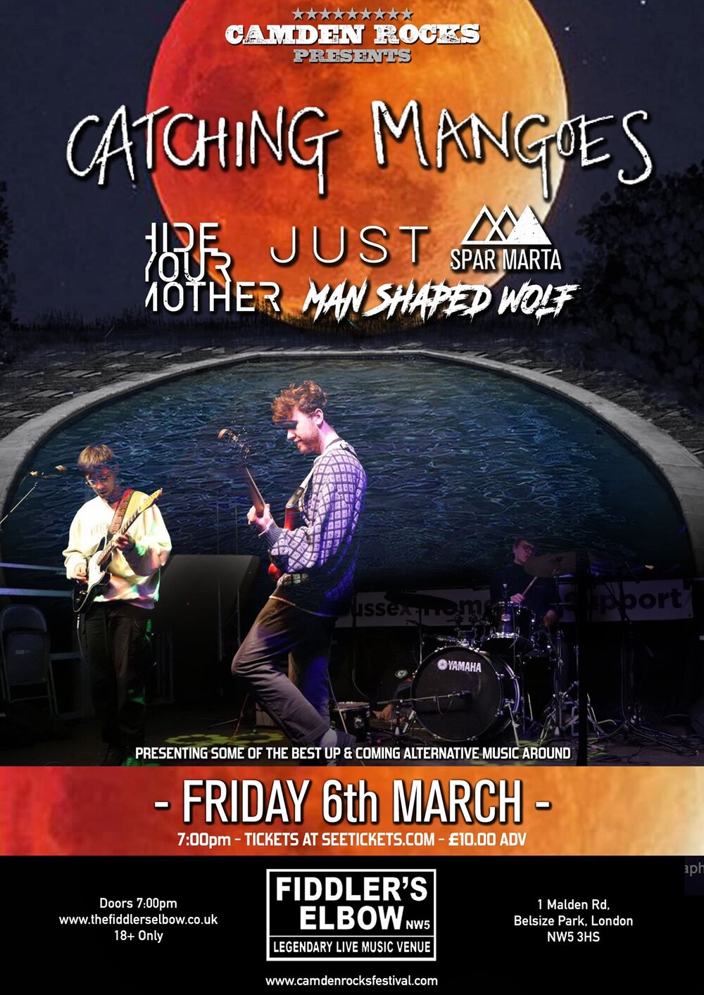 Camden Rocks presents Catching Mangoes & more at The Fiddler's Elbow promotional image