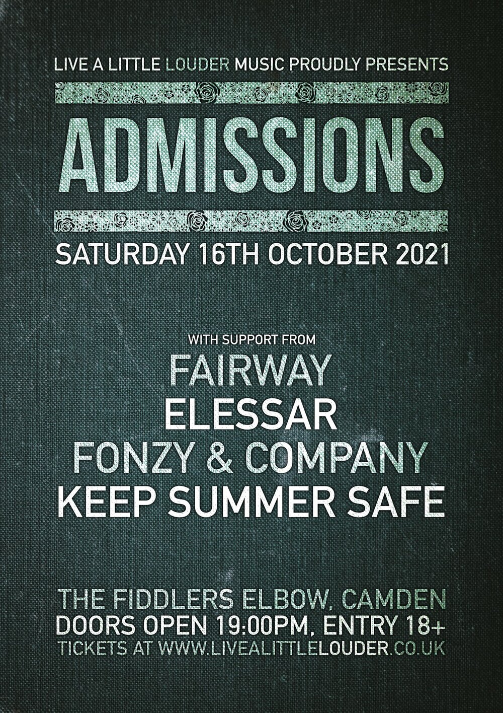 ADMISSIONS / Fairway / Elessar / Fonzy & Company / Keep Summer Safe at The Fiddler's Elbow promotional image
