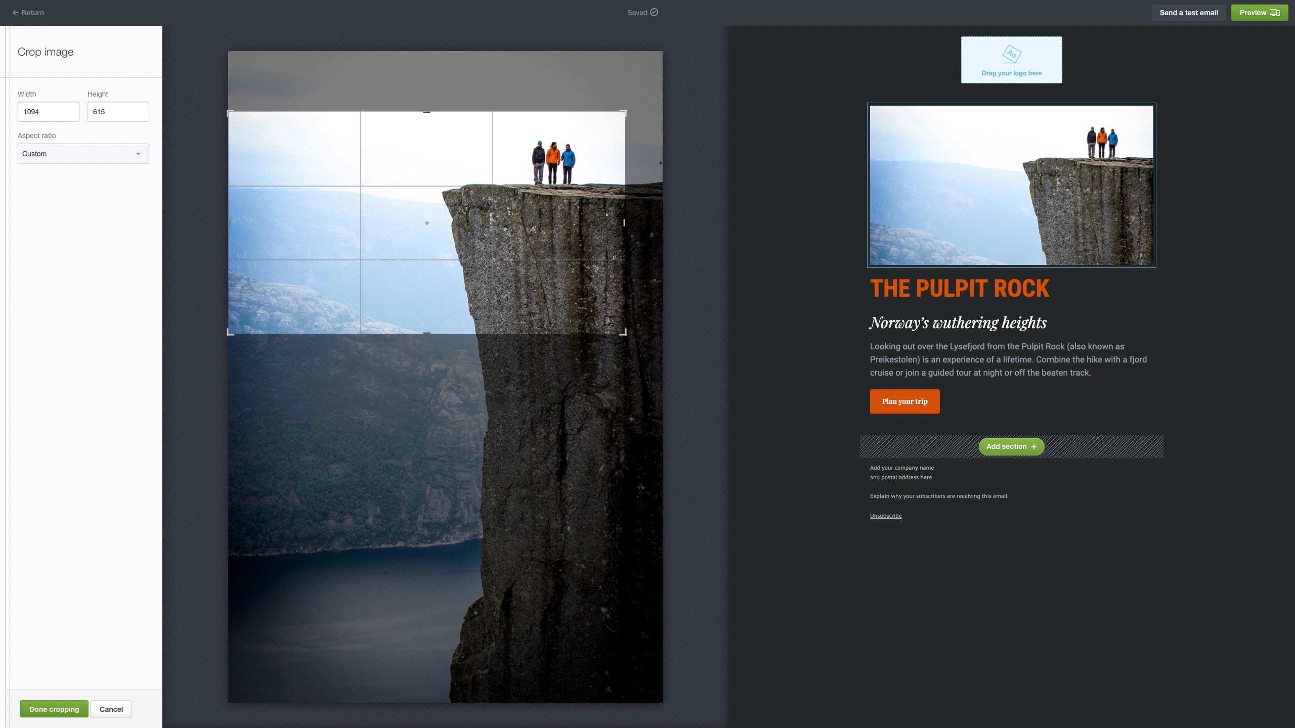 Screenshot of image cropping tool