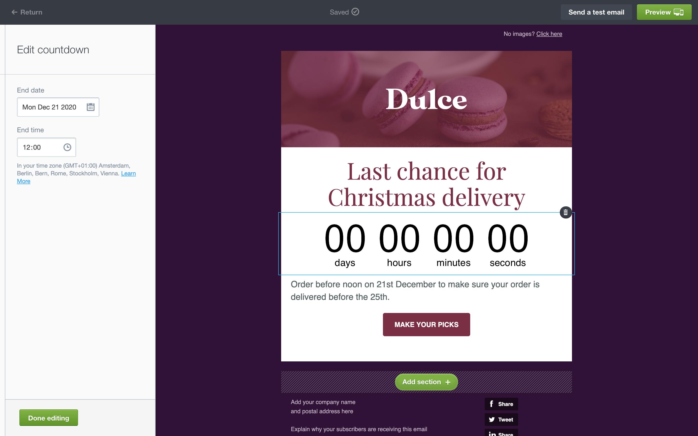 Screenshot of countdown timer feature