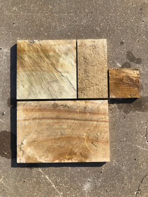 gold, tan natural stone Golden Fossil Sawn Edge French Pattern- PAVERS