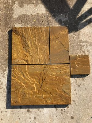 brown, tan natural stone Harvest Sawn Edge French Pattern- PAVERS