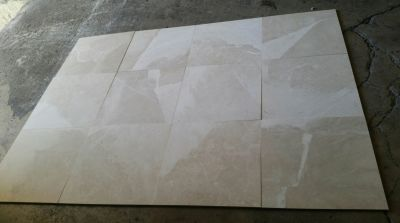 brown, gray, tan stone Crema Beige Honed