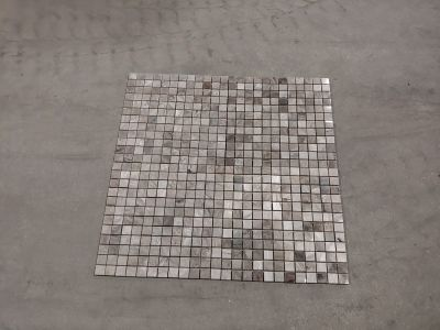 black, brown, gray, tan, white, beige stone 1x1 Silver Lava Glass
