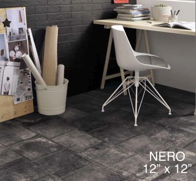 "black, gray ceramic Coem Bricklane, Nero: 12""x12"" by ceramiche coem"