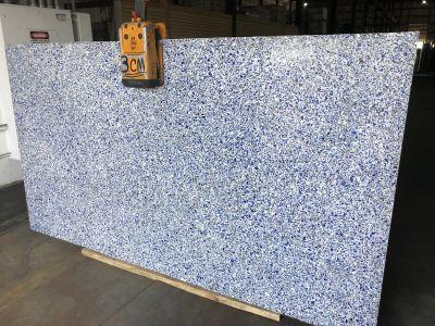 blue, white engineered Vetrazzo Cobalt Skyy Polish 3CM