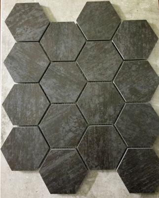 "black, gray porcelain Black/Grey 3"" Hexagon Mosaic"