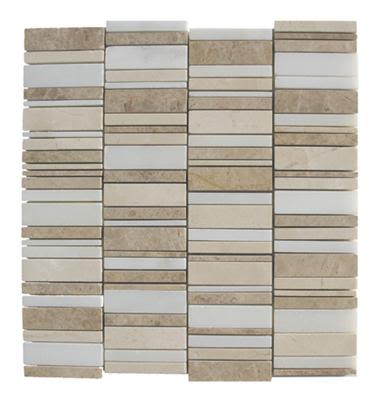 gray, tan marble SSH-201 Destin Blend Waterfall Polished Mosaic by soci
