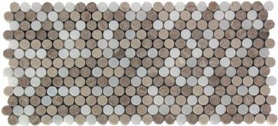 brown, gray, tan, white marble SSH-226 Destin Blend Small Penny Round Polished Mosaic by soci