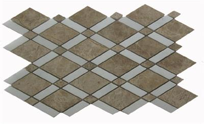 gray, tan, white marble SSH-231 English Harlequin Light Emperador Polished Mosaic by soci