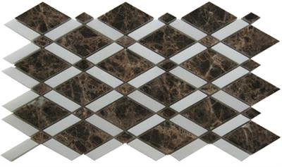 brown, gray marble SSH-233 English Harlequin Dark Emperador Polished Mosaic by soci